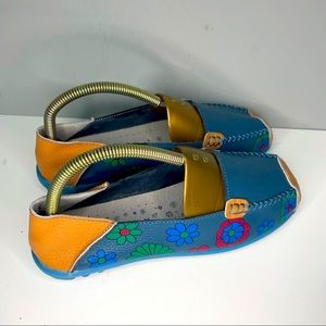 Womens Socofy Slip On Shoes, Size 40, Blue Flowered Worn One Time. Us 8,5-9 Size